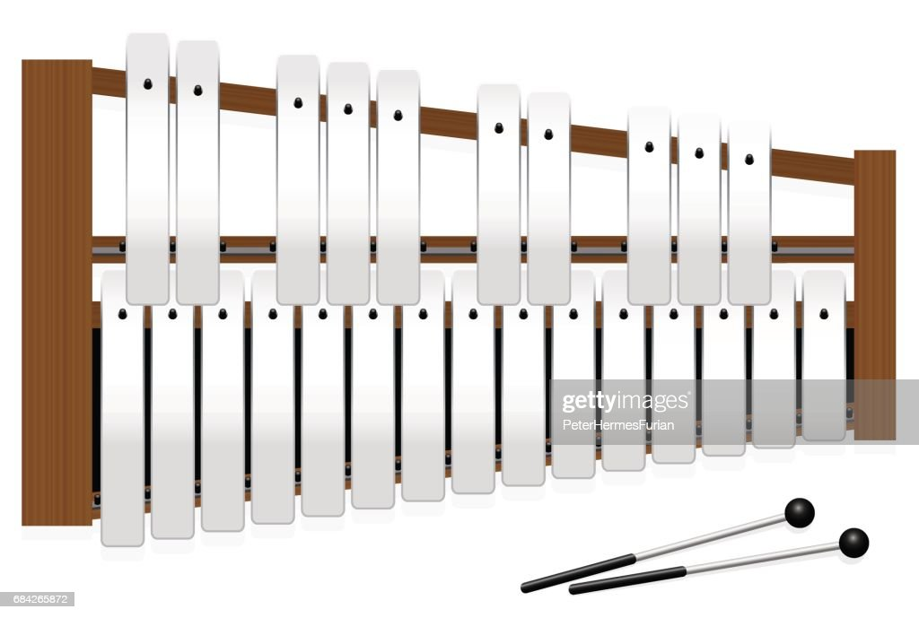Metallophone with metal bars - top view - three octaves in c major with fifteen whole tones and ten halftones - plus two percussion mallets - illustrated vector illustration on white background.