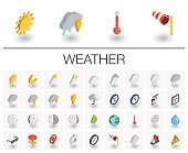 Meteo and weather isometric icons. 3d vector