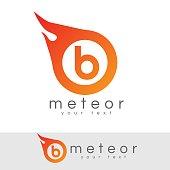 meteor initial Letter B icon design