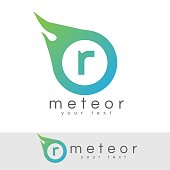 meteor initial Letter R icon design