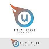 meteor initial Letter U icon design