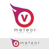 meteor initial Letter V icon design