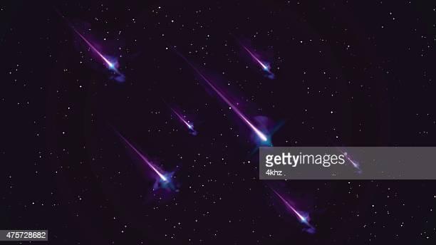 ilustraciones, imágenes clip art, dibujos animados e iconos de stock de lluvia de meteoritos tiro espacio estrellas vector fondo de stock - cometa espacio