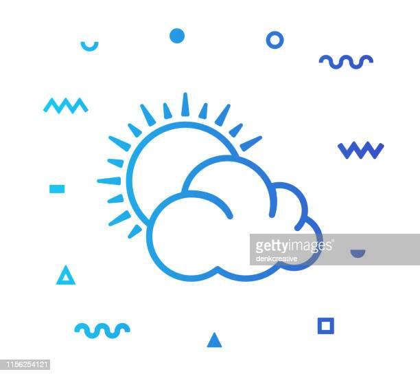stockillustraties, clipart, cartoons en iconen met meteorologie lijnstijl icon design - ochtend