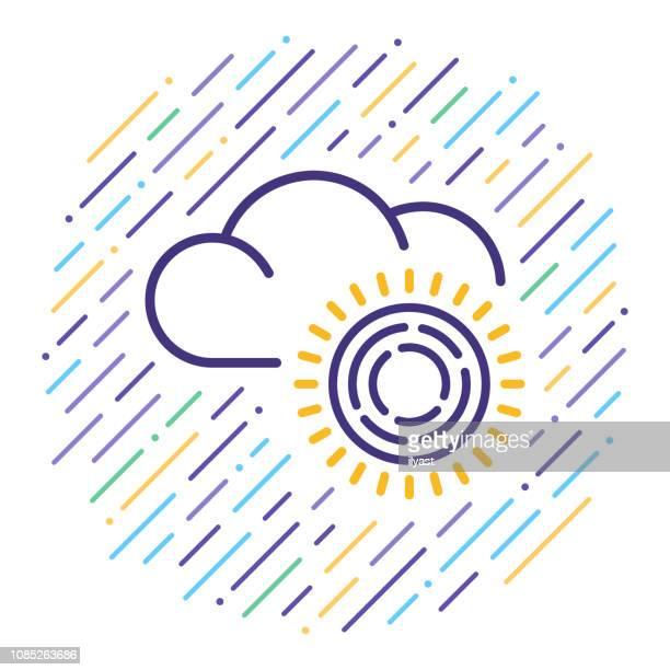 meteorology science line icon illustration - fahrenheit stock illustrations