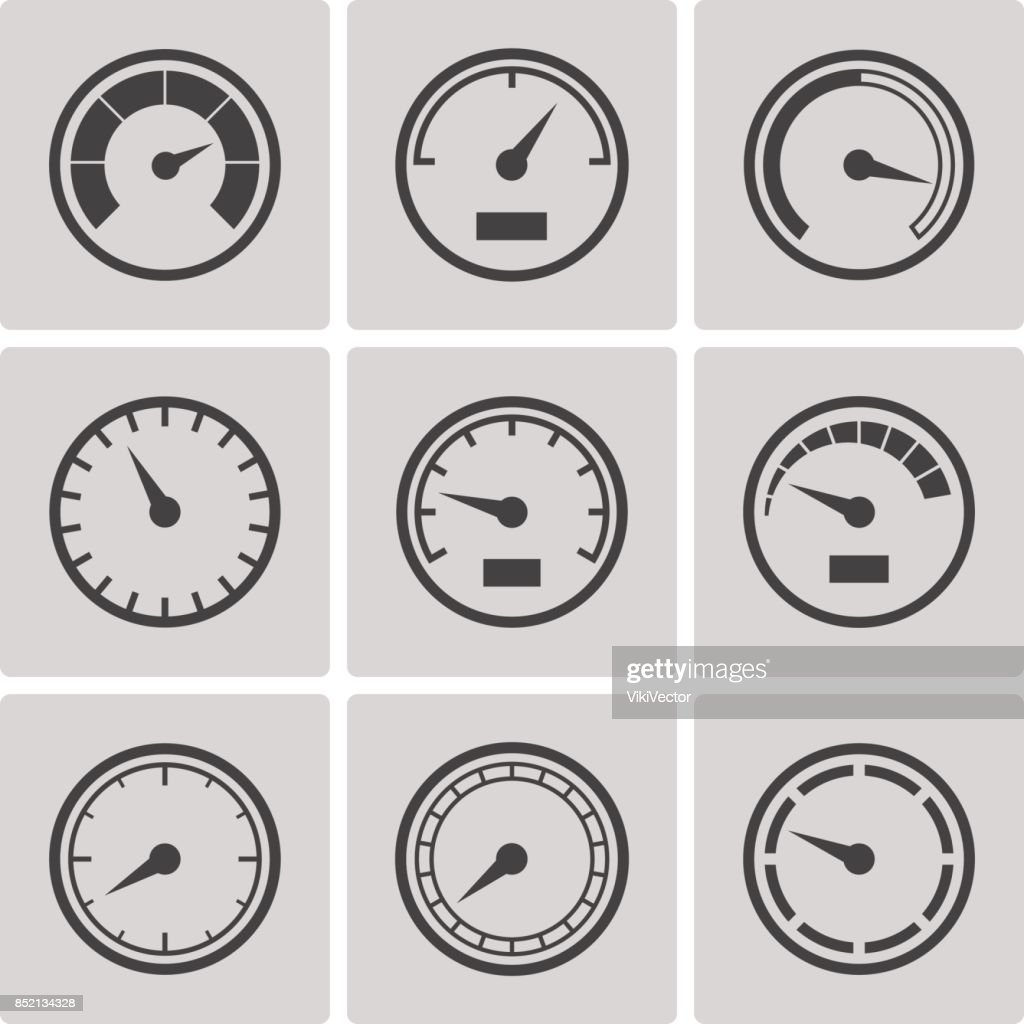 Meter icons flat style set
