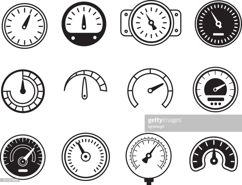 Meter icons. Symbols of speedometers, manometers, tachometers etc. vector illustration