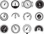 Meter icons. Symbols of speedometers, manometers, tachometers etc. vector illustration