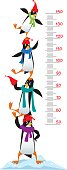 Meter wall or height chart with Funny penguins