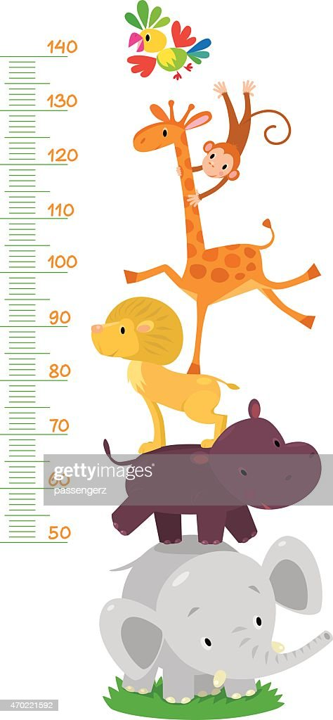 Meter wall or height meter with funny animals