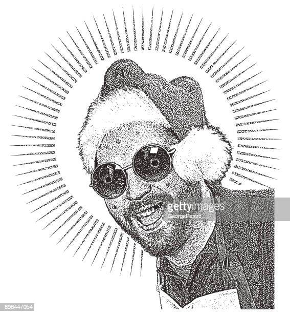meth head santa humorous illustration - methamphetamine stock illustrations, clip art, cartoons, & icons