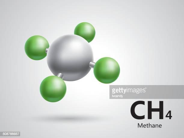 illustrazioni stock, clip art, cartoni animati e icone di tendenza di metano modello molecolare - molecola