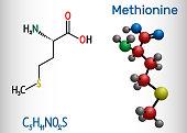 Methionine (l- methionine, Met , M) essential amino acid molecule.  Structural chemical formula and molecule model