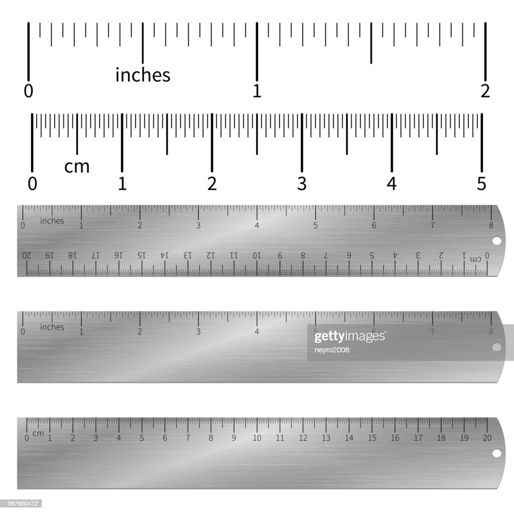 Metric imperial and decimal inch rulers vector set