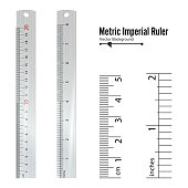 Metric Imperial Rulers Vector. Centimeter And Inch. Measure Tools Equipment Illustration Isolated On White Background