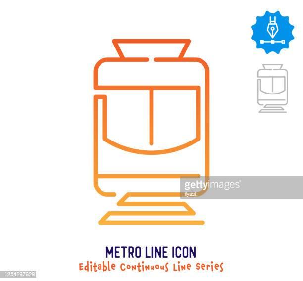illustrazioni stock, clip art, cartoni animati e icone di tendenza di linea metropolitana linea continua linea tratto modificabile - continuità