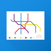 Metro Map Vector. Fictitious City Public Transport Scheme. Vector illustration.