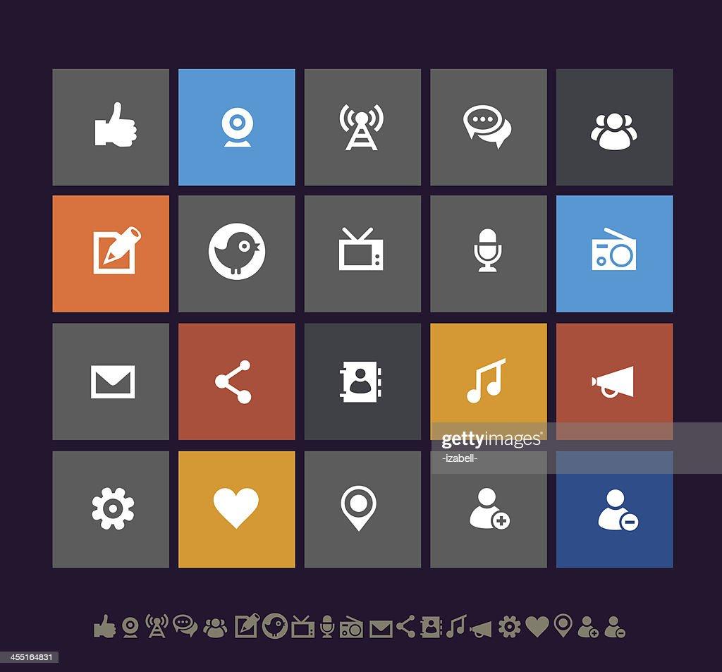 Metro social network icons