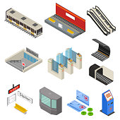 Metro Station 3d Icons Set Isometric View. Vector