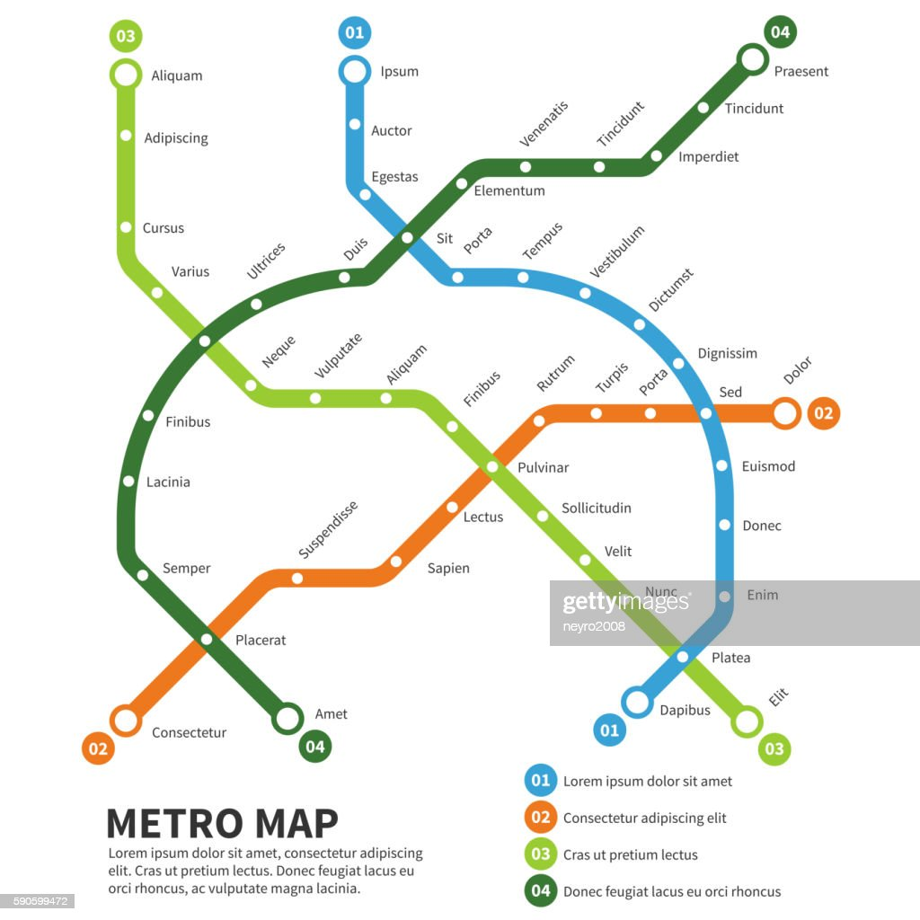 Metro, subway map vector template