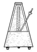 Metronome illustration, drawing, engraving, ink, line art, vector