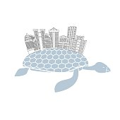 Metropolis on shell water turtles. City skyscrapers and office b