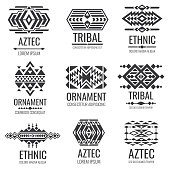 Mexican aztec symbols. Vintage tribal vector ornaments