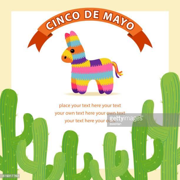 mexican cactus & donkey pinata - pinata stock illustrations