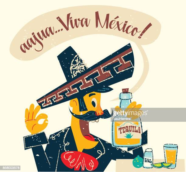 mexican charro drinking tequila - tequila drink stock illustrations, clip art, cartoons, & icons