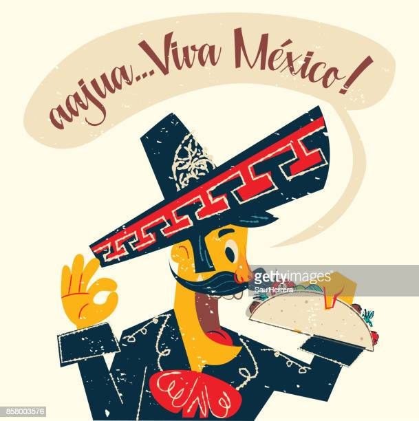 mexican charro eating a taco - mexican food stock illustrations, clip art, cartoons, & icons