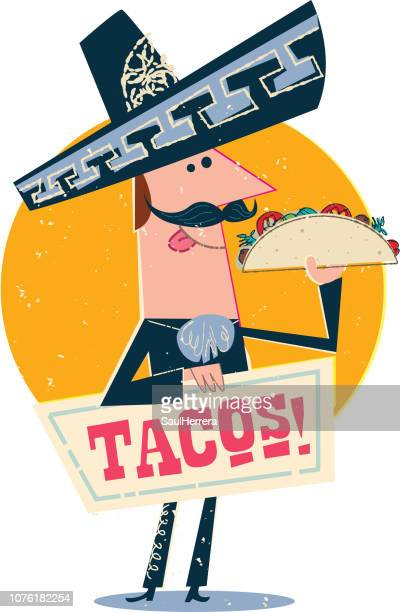mexican charro with tacos - mariachi stock illustrations