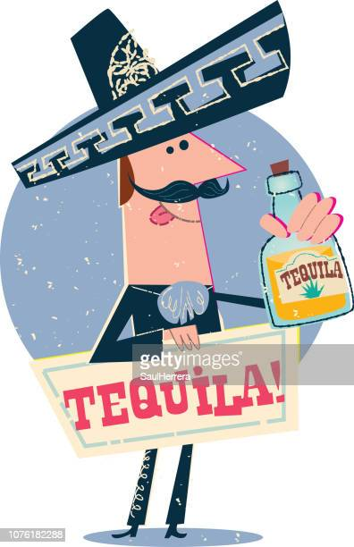 mexican charro with tequila - tequila drink stock illustrations, clip art, cartoons, & icons
