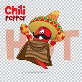 Mexican chili hot pepper vector character illustration