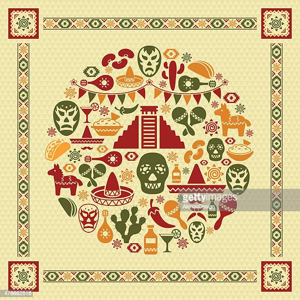 mexican collage - mexican food stock illustrations, clip art, cartoons, & icons