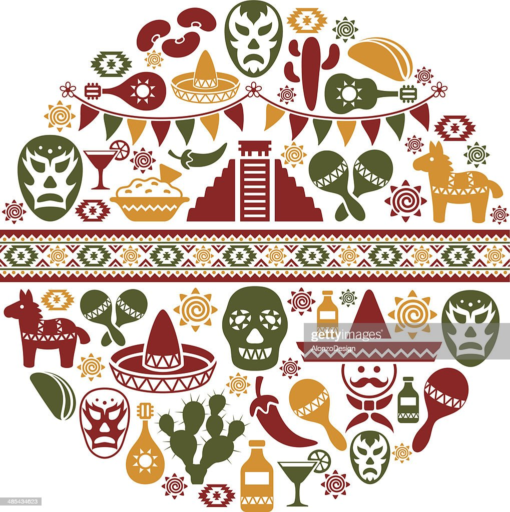 Mexican Collage : Stockillustraties