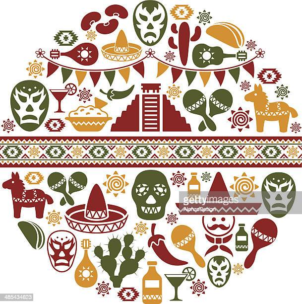 mexican collage - sombrero stock illustrations