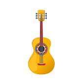 Mexican colorful guitar, traditional rhythmic string musical instrument