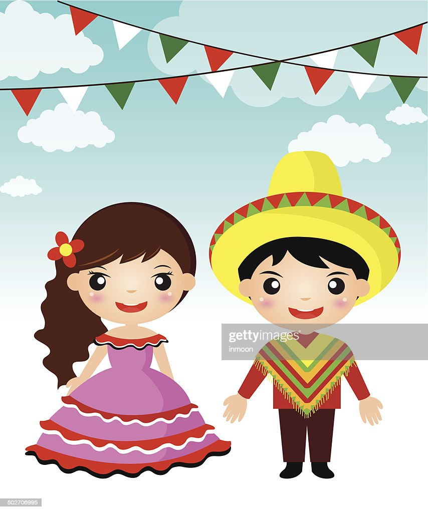 Mexican couple traditional costume cartoon