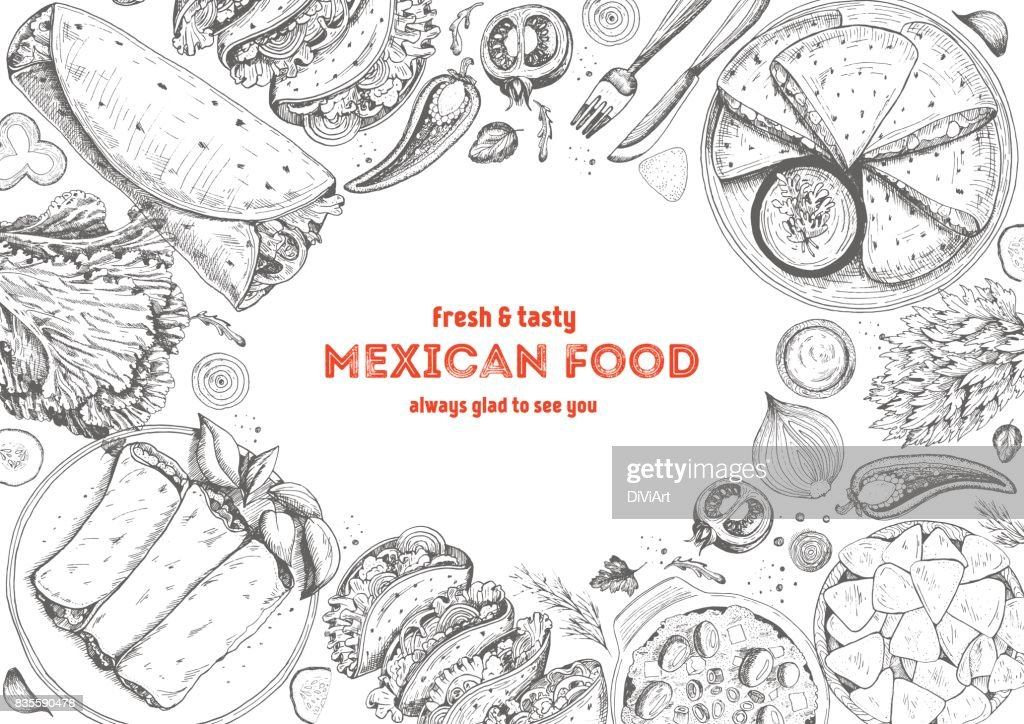 Mexican Cuisine Top View Frame A Set Of Classic Mexican Dishes With
