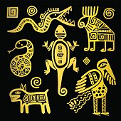 Mexican culture golden tribal signs
