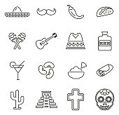 Mexican Culture & Heritage Icons Thin Line Vector Illustration Set