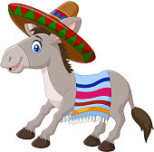 Mexican donkey wearing a sombrero and a colorful blanket