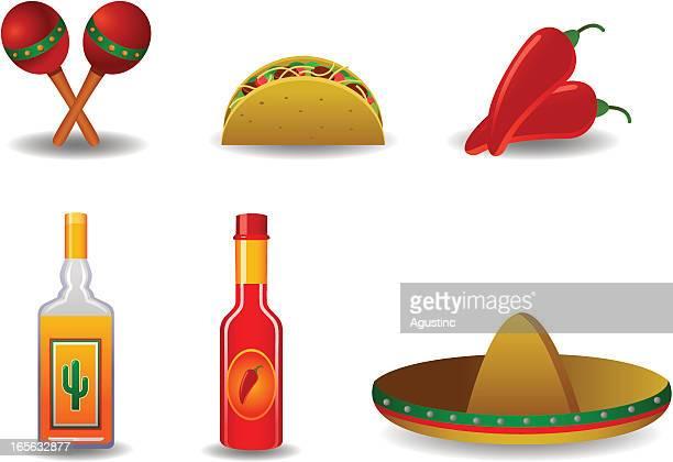 ilustrações, clipart, desenhos animados e ícones de elementos mexicana - sombreiro