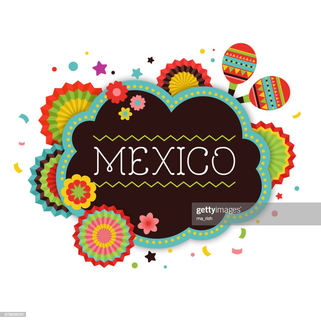 Mexican Fiesta background, banner and poster design with flags, decorations, greeting card