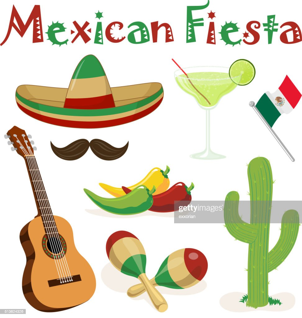 Mexican Fiesta Elements : Stock Illustration