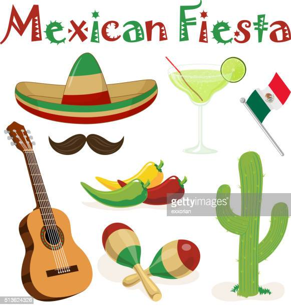 mexican fiesta elements - sombrero stock illustrations