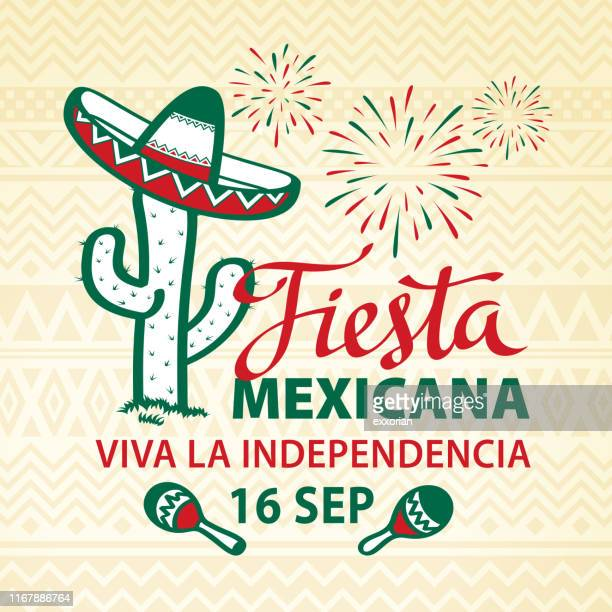 mexican fiesta independence - sombrero stock illustrations