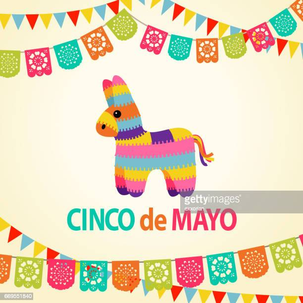 mexican fiesta pinata party invitation - cinco de mayo stock illustrations