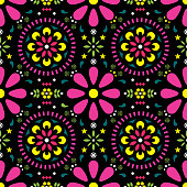 Mexican floral vector seamless pattern, traditional folk art colorful fiesta design on black background