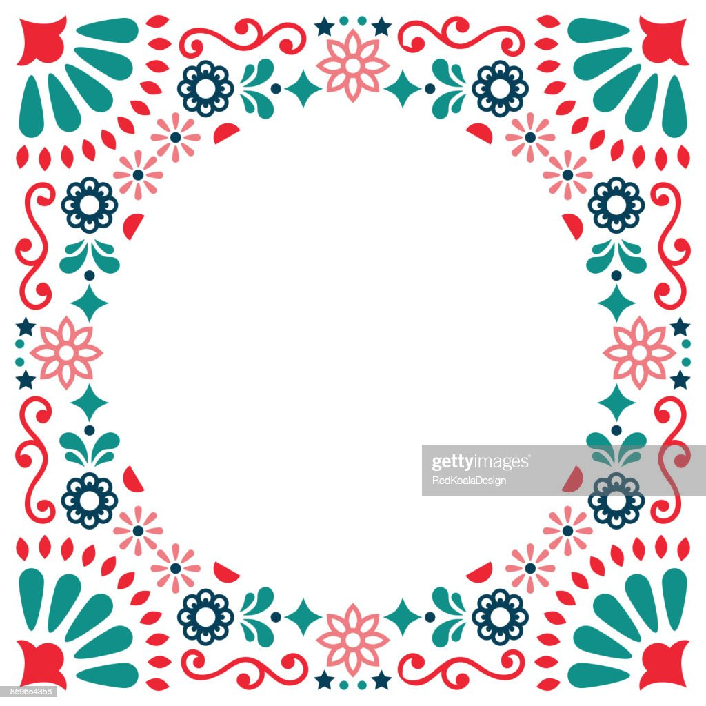 Mexican folk vector greeting card, wedding or party invitation decoration, floral and abstract border, frame